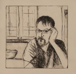 PRINT - Self Protrait (drypoint etching) - 2011